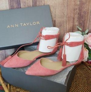 Ann Taylor Suede Tassle Ethyl Pointed toe flats 7